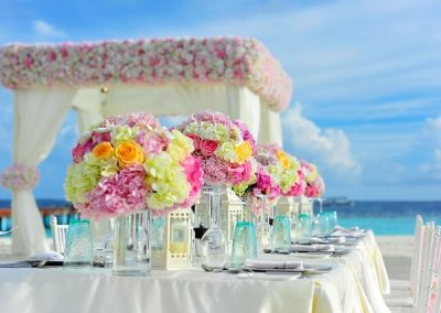 decoration theme mariage fleurs couleurs plage